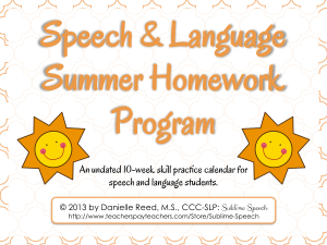 SpeechLanguageSummerHomeworkProgram