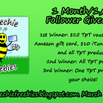 Speechie Freebies 1 Month/1,000 Follower Giveaway!