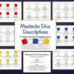 Mustache Dice Descriptions {Materials Monday}