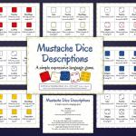 Mustache Dice Descriptions {Materials Monday}