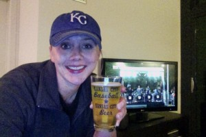 Cheering on my boys in the postseason with the famous KC Boulevard Beer!